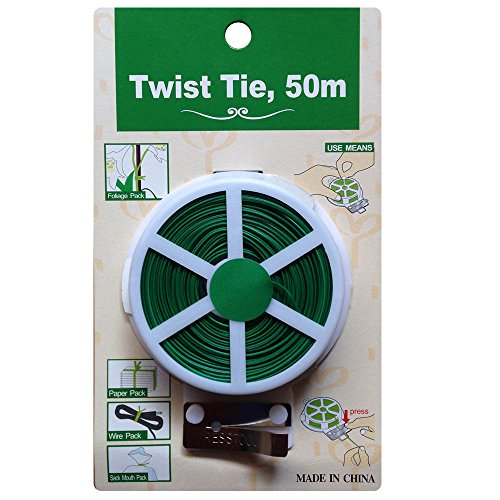GHRMB Green Plant Twist Tie Line Plastic Reel Wire Spool roll with Cutter Slicer Climbing vines tie wire ligature Multifuncational Sturdy Strings gardening supplies tools coated cable Fixed Up Line