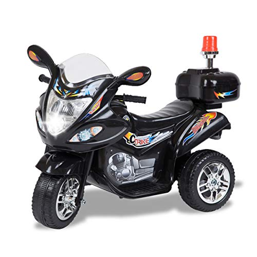 Tamco Police Motorcycle Ride On Toy with Flash Alarm Light, Electric Power Tricycle with Foot Pedal, 7 Colors Flashlight Front Light, Music & Honk, Super Easy Driving for Kids Max Load 45LB