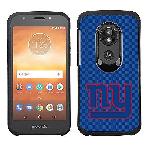 Prime Brands Group Cell Phone Case for Motorola Moto E5 Cruise/E5 Play - NFL Licensed New York Giants - Blue Textured Back Cover on Black TPU Skin
