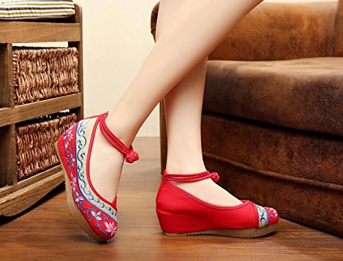 Femeninos Zq Tendón Zapatos Étnico Aumentados Lino Red Manera Cómodo Del Lenguado Ocasional Estilo Bordados XX8qr6U