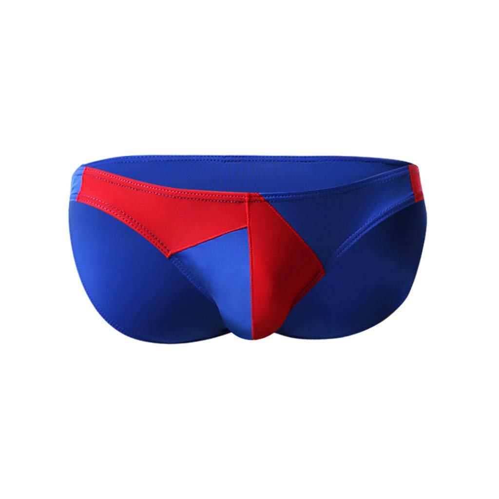 Men's Briefs New Low Waist Raised Stitching Sexy Ice Silk Bikini Underwear Personality Stitching Silky Thong (Blue,S)