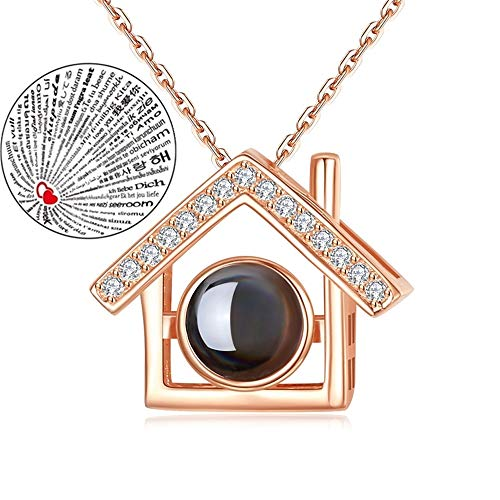 Inf-way I Love You Necklace, 100 Languages Projection on Round Onyx Pendant Loving Memory Collarbone Necklace 1 Pcs (House Gold)