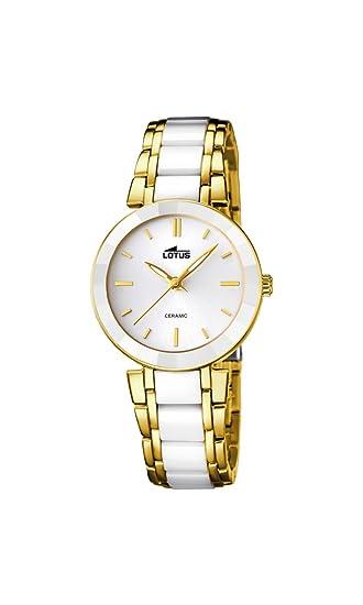 Lotus Reloj de Cuarzo para Mujer con Color Blanco Esfera analógica Pantalla y Pulsera de cerámica Blancos 15938/1: Amazon.es: Relojes