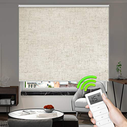Motorized Window Roller Shades Blinds Remote Control Wireless and Rechargeable -100% Blackout Linen Fabric Roller Shade for Smart Home and Office Customized Size (Linen Beige)