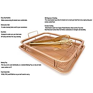 Ulitimate Copper Crisper Air Fry Chef Pan -Stainless Steel Multi-Use Ceramic Coated Tray & Non-Stick Oil Free Basket W/Premium Tongs - For Fries, Chicken, Vegetables, Onion Rings & More
