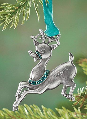 Personalized Reindeer Birthstone Ornament - December - Birthstone Christmas Ornaments - Birth Stone Magic