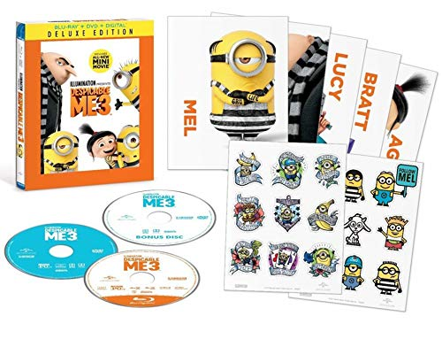 Illumination Heart Minions Deluxe Despicable Me 3 Exclusive Animated Movie / Minion Moments / Secret Life of Kyle Bonus Character Trading Cards Edition DVD + Blu Ray + Digital