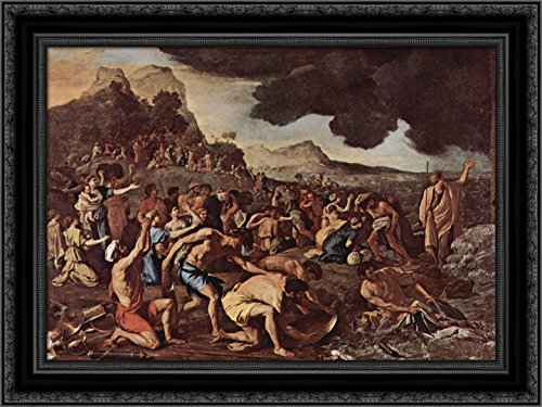 The Crossing of The Red Sea 24x20 Black Ornate Wood Framed Canvas Art by Poussin, Nicolas (The Crossing Of The Red Sea Poussin)
