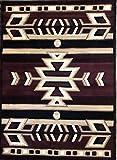 Southwest Native American Indian Area Rug Burgundy & Black Carpet King Design 113 (5 Feet 2 Inch X 7 Feet 3 Inch)