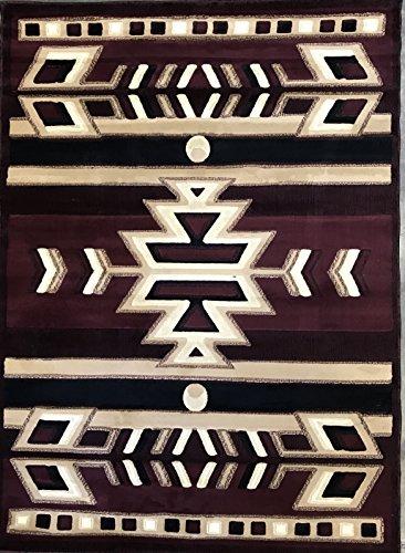 Southwest Native American Indian Area Rug Burgundy & Black Carpet King Design 113 (5 Feet 2 Inch X 7 Feet 3 Inch) by Americana