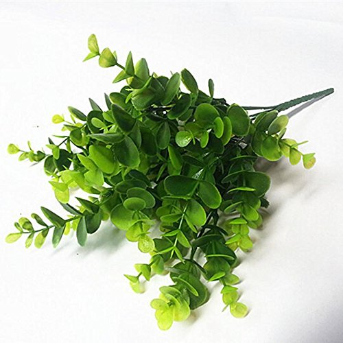 LoveU Shrub Artificial Shrubs, Fake Plastic Greenery Plants Eucalyptus Leaves Bushes Flowers Faux Plastic Leafy Green Imitation Boxwood Plants Indoor Outside Home Garden Office Verandah Decor, 4pc