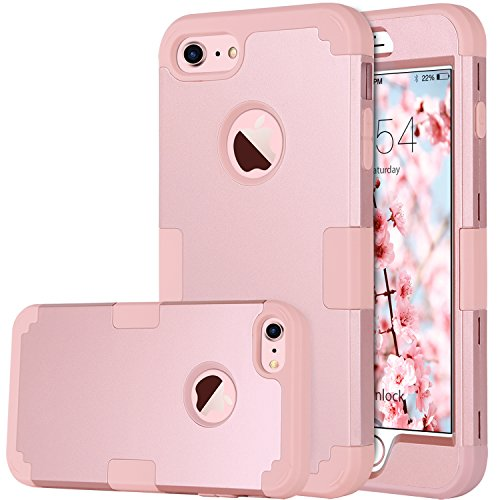 iPhone 8 Case, iPhone 7 Case, BENTOBEN Heavy Duty Slim Shockproof Drop Protection 3 in 1 Hybrid Hard PC Covers Soft Rubber Bumper Protective Case for iPhone 8 / 7 Cute Rose Gold
