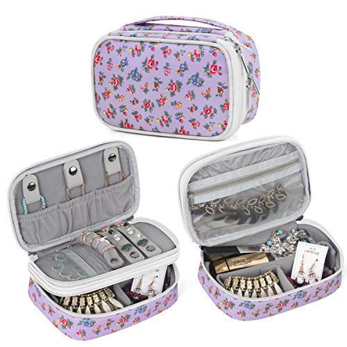 Teamoy Jewelry Travel Case, Jewelry & Accessories Holder Organizer for Necklace, Earrings, Rings, Watch and More, Roomy, Compact and Portable, Flowers from Teamoy