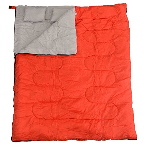 California Basics 3-4 Season 400GSM Double Sleeping Bag with Water-Resistant Shell for Camping, Hiking, Backpacking and Outdoors, includes 2 Pillows and Compression Bag, Red/Grey