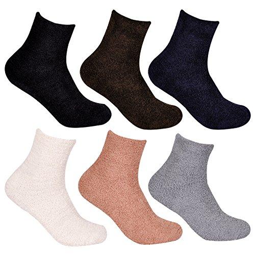 4 Paar L&K Herren Socken Bambus-Socken Kuschelsocken mit Anti Rutsch Sohle Innenfell Extra dicke und weiche Haussocken 92266 Größe 40-43