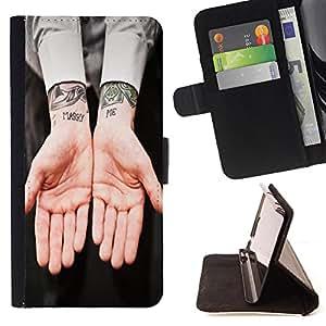 King Case - FOR Sony Xperia Z3 D6603 - ?a hand to hold - Prima caja de la PU billetera de cuero con ranuras para tarjetas, efectivo Compartimiento desmontable y correa para la mu?eca