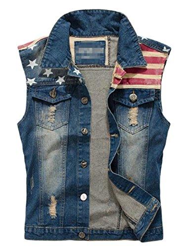 Generic Men's American Flag Sleeveless Ripped Jeans Denim Jacket Vest Waistcoat Blue L