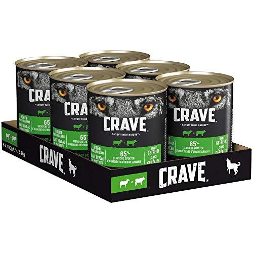 CRAVE Premium Pastete mit Lamm & Rind für Hunde – Getreidefreies Adult Nassfutter mit hohem Proteingehalt – Dosen 6 x…