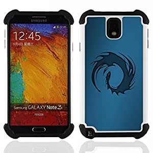 For Samsung Galaxy Note3 N9000 N9008V N9009 - Blue Tribal Dragon Dual Layer caso de Shell HUELGA Impacto pata de cabra con im??genes gr??ficas Steam - Funny Shop -