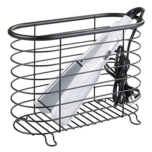 mDesign Metal Wire Hair Care & Styling Tool Organizer Holder Basket - Bathroom Vanity Countertop Storage for Hair Dryer, Flat Irons, Curling Wands, Hair Straighteners - Matte Black