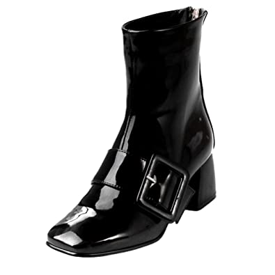 da40034b4 Carolbar Women's Zip Square Toe Buckle Patent Leather Mid Heel Short Boots