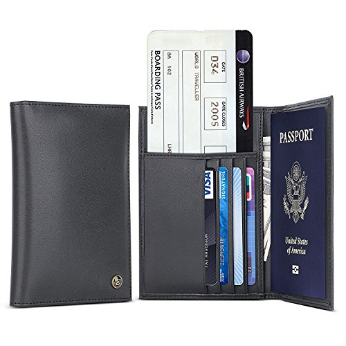 Genuine Leather Passport Holder - B BELK RFID Blocking Travel Wallet Cover Case For Men & Women,Protect Your Passport,Airline Ticket, Credit Cards,Cash
