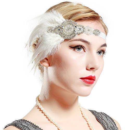BABEYOND 1920s Flapper Headpiece Roaring 20s Great Gatsby Headband Black Feather Headband 1920s Flapper Gatsby Hair Accessories (White-1)