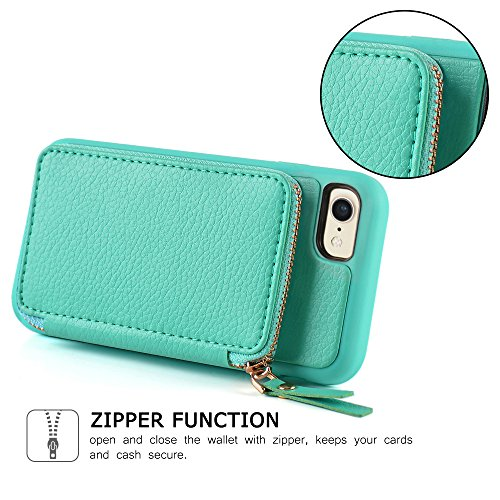 iPhone 8 Wallet Case, iPhone 7 Case with Card Holder, ZVE iPhone 7 Leather Case With Credit Card Holder Slot & Zipper Wallet, Protective Case for iPhone 7 / iPhone 8 4.7 inch - Mint Green by ZVE (Image #5)