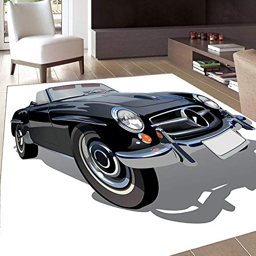(Rug,Floor Mat Rug,Cars,Area Rug,Classical Retro Vehicle Antique Convertible Prestige Old Fashion Revival,Home mat,6'x8'Black Pale Grey White,Rubber Non Slip,Indoor/Front Door/Kitchen and Living Room/B)