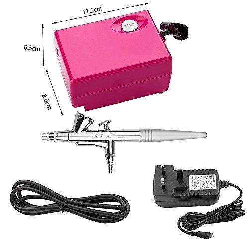 Airbrush Kit, CNUALV Airbrush Compressor Air Brush Kit Spray Gun Air Compressor for Tattoo,Cake Decorating, Makeup, Nail Beauty, Painting ( Pink (Pink Decorating Kit)