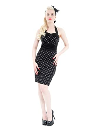 H R London Polka Dot Pencil Wiggle Pinup Dress Black White Black