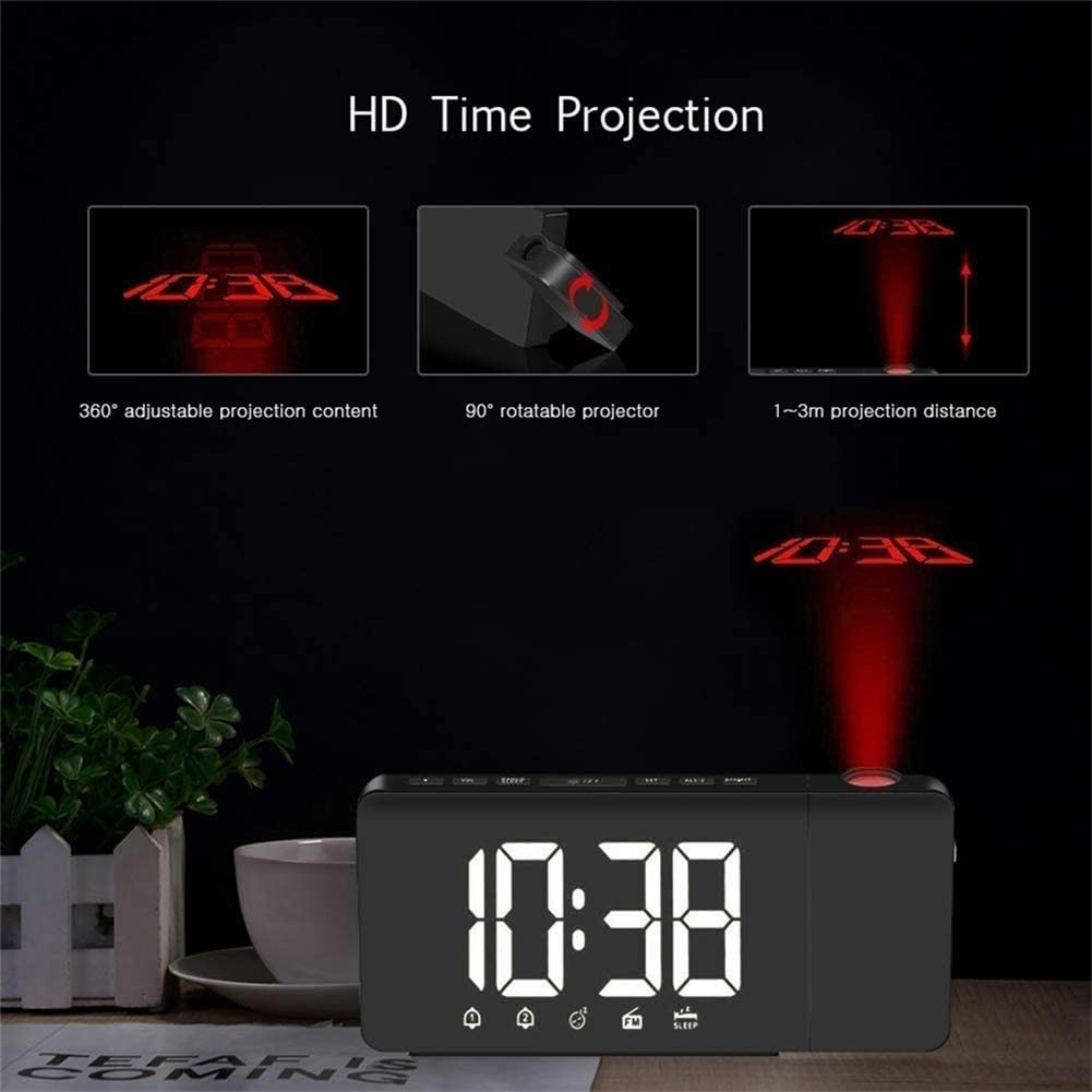 YL-light Projection Ceiling Wall Clock USB Charging LED Digital Desk Clock with Dimmer Kids FM Radio Snooze Function for Bedroom 360/° Digital Rotation Kitchen