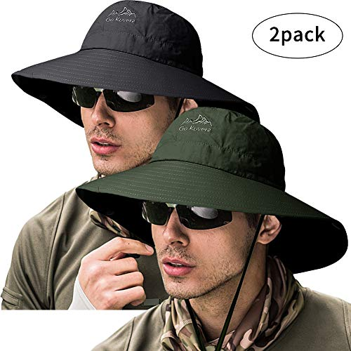 ZOORON Fishing Bucket Hat for Men,Waterproof Wide Brim Boonie Sun Hat UV Protection (2pack-Black&Green)