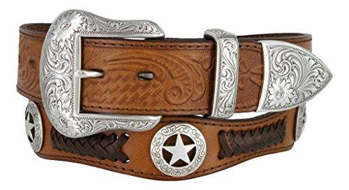 3 Piece Leather Concho Belt (Mens Western Ranger Star Badge Concho Braided Genuine Leather Cowboy Belt (46.,)