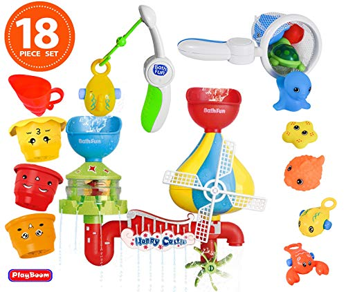 Playboom 18 Piece Baby Bath Toy -Waterfall Water Station with Fishing Rod 3...