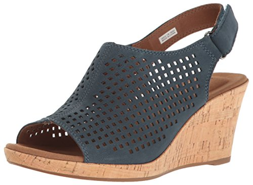 Rockport Women's Briah PERF Sling Sandal, Teal Leather, 6.5 W US
