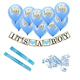 Baby Shower Decorations ~It's A BOY ~ Complete Set ~ 10 Balloons, 1 Banner, 2 Sashes, 100 Small Acrylic Pacifiers as Table Confetti ~ Ideal Supplies for Gender Reveal Party, Nurseries