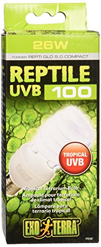 Exo Terra Repti-Glo 5.0 Compact Fluorescent Tropical Terrarium Lamp, 26-Watt (Bulbs Light Reptile)