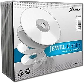 Xlayer 104633 Caja Transparente para CD 1discos Negro Funda para ...