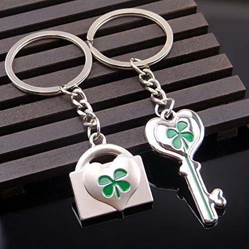 Ants-Store - 1Pair Couple Car Keychain Four Leaf Clover Key Ring Silver Plated Lovers Love Key Chain Souvenirs Valentine's Day gift