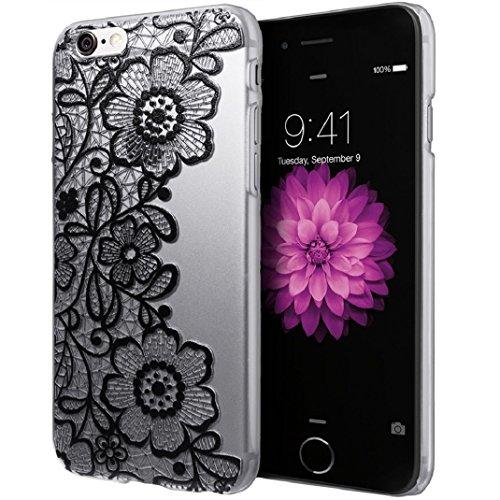 Amison per iPhone 6S Plus Custodia Cover trasparente nero pizzo floreale fiore plastica Case Cover
