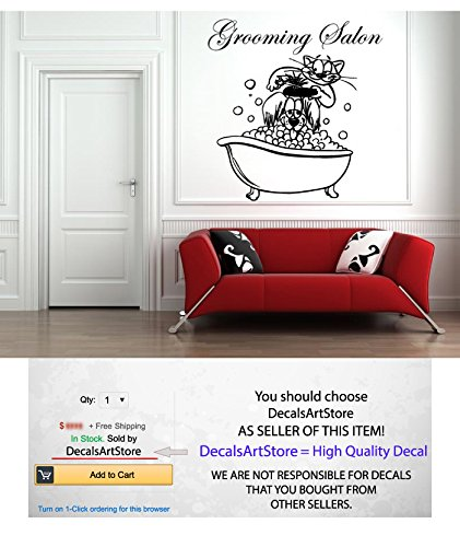 Grooming Salon Wall Decal Dog Cat Vinyl Stickers Comb Scissors Decals Grooming Salon Decor Interior Wall Art Murals Decoration Home Pet Shop (Cat Grooming Pictures)