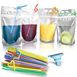 juice boxes reusable - 100 Pcs Double Zipper Plastic Clear Drink Pouches with Straw, No Leakage Drink Reusable Juice Bags, Stand up Disposable Drink Pouch Smoothie Bag for Freezing Juice, Heavy Duty Plastic, BPA Free