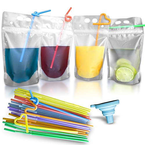 100 Pcs Double Zipper Plastic Clear Drink Pouches with Straw, No Leakage Drink Reusable Juice Bags, Stand up Disposable Drink Pouch Smoothie Bag for Freezing Juice, Heavy Duty Plastic, BPA Free