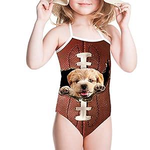 doginthehole 3D Puppy Design One Piece Swimsuit Hi-Neck Beachwear For Girls