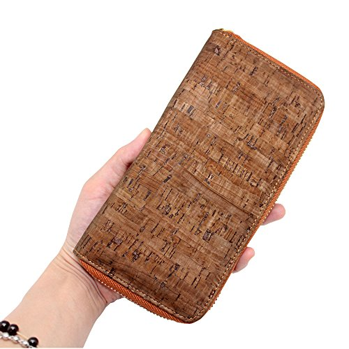 Wallet Gift for Galaxy Phone Brown Boshiho Around Vegan iPhone Cell Cork Clutch Zipper Samsung Purse Design Twzq165