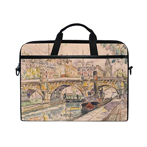 TARTINY 15-15.4 Inch Laptop Bag Tugboat Pont Neuf Paris by Paul Shoulder Messenger Bags Sleeve Case Tablet Briefcase with Handle Strap