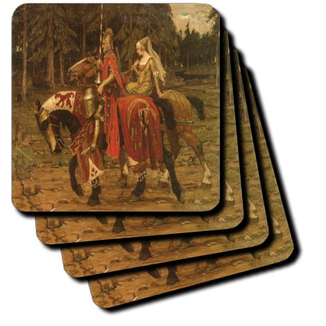 3dRose cst_180631_1 Image of Nouveau Painting of Medieval Horseman and Lady Riding-Soft Coasters, Set of 4