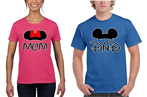 GOOD SHOPPERS ACTIVEWEAR Mickey Minnie Mouse Mickey Dad Minnie Mom Costume Tee Shirt Couple for Men Women(Pink-Blue,Men-XL/Women-S)