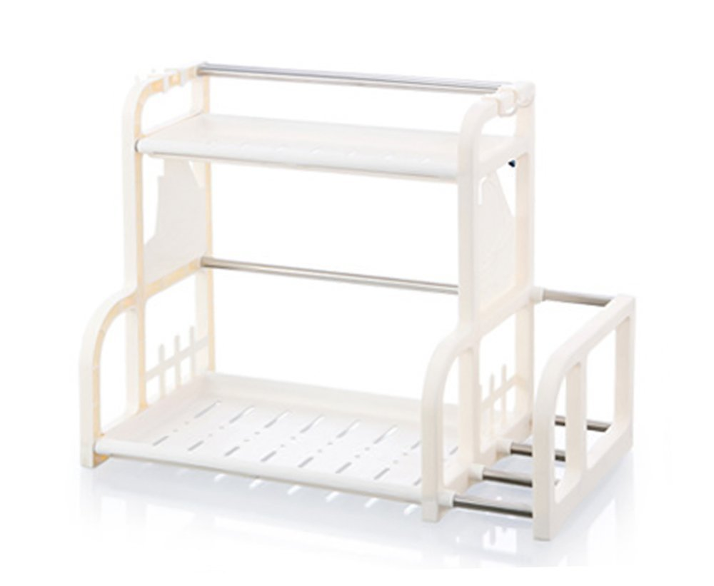 Mehousa 2-Tier Kitchen and Bathroom Storage Organizer I Under the Sink I Countertop with Cutting Board Rack /& Hanging Hooks Sturdy Plastic /& Rust-Free Stainless Steel
